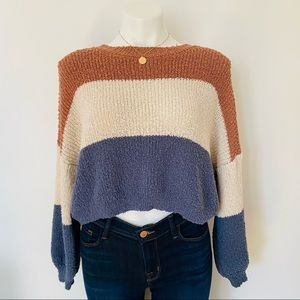 Debut Color Block Crop Knit Sweater